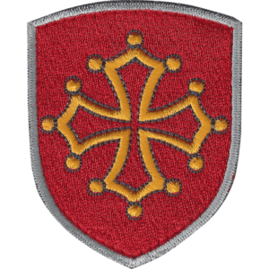 blason brodé croix occitane