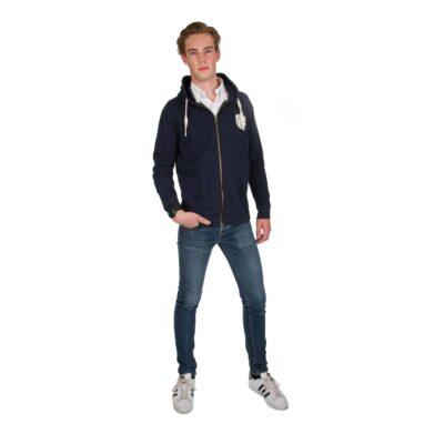 Sweatshirt zip audric coton bio bleu marine amalric pour blason