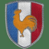 Blason brodé Bleu Blanc rouge avec coq d'or, symbole français